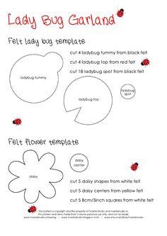 Template Ladybug and Daisy Garland Felt Baby
