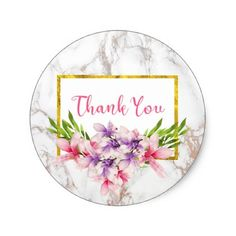 #elegant - #Watercolor Magnolias on White Marble Thank You Classic Round Sticker