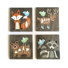 This set of 4 hand painted woodland animals would make an adorable and unique addition to your little ones woodland nursery! Each one is hand drawn and painted on wood. Measures approximately 11 x 11 on stained pine. All come ready to hang with sawtooth hangers on back.