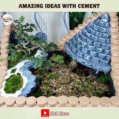 Diy Crafts Hacks, Diy Home Crafts, Garden Crafts, Garden Projects, Cement Art, Concrete Crafts, Concrete Garden, Diy Water Fountain, Diy Garden Fountains