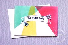 Welcome Baby card by Pamela Ho for Paper Smooches - Banner die, A Little Lovin, Spring Fling stamps and dies