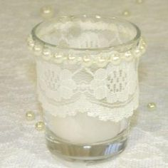 lace tea light & pearls