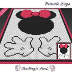 Minnie Logo crochet blanket pattern; knitting, cross stitch graph; pdf download; no written counts or row-by-row instructions by TwoMagicPixels, $1.89 USD