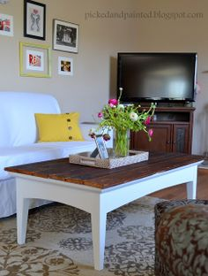 Add barn wood to the top of a painted coffeetable : Picked & Painted