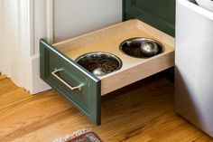 Kitchen of the Week: Deep Green Cabinets Star in 136 Square Feet Green Cabinets, Small Space Storage, Transitional Kitchen, Square Feet, Dog Bowls, Small Spaces, Kitchens, Lemon, Hacks