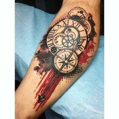 24 ideas tattoo compass design trash polka for 2019 Cool Forearm Tattoos, Leg Tattoos, Body Art Tattoos, Sleeve Tattoos, Voodoo Tattoo, Lady Bug Tattoo, Modern Tattoos, Trendy Tattoos, Tribal Tattoos For Men