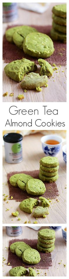 Green Tea Almond Cookies - crispy, crunchy, with the best green tea flavor | rasamalaysia.com
