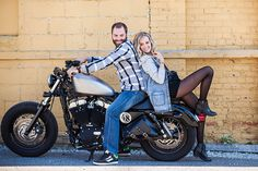 I like this idea though the actual posing may need to be fine tuned. Engagement Couple, Engagement Pictures, Engagement Shoots, Bike Photography, Couple Photography, Engagement Photography, Motorcycle Photo Shoot, Motorcycle Couple, Bike Photoshoot