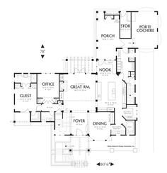 Main Floor Plan of Mascord Plan 2447 - The Senath - Three Level Plan with Warmth and Elegance