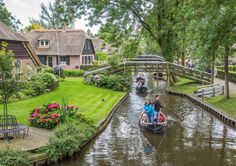 The picturesque village of Giethoorn is best navigated by boat (or ice skate)