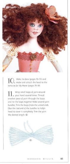 How to make pretty doll hair with yarn from the book Cloth Doll Workshop