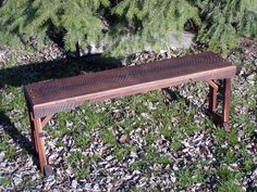 Rough Sewn Reclaimed Black Walnut Bench crafted by L. Design Reclaimed.