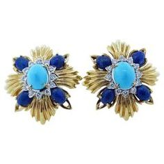 """MONTCLAIRE 60""""s Lapis Turquoise and Damond Earrings"""