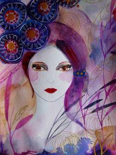 Aquarell - Porträt Frau Malerei - ein Designerstück von CelineOriginalArt bei DaWanda