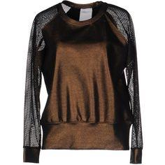 Luxury Fashion Sweatshirt (£113) ❤ liked on Polyvore featuring tops, hoodies, sweatshirts, bronze, long sleeve jersey, jersey sweatshirt, long sleeve jersey top, two tone sweatshirt and jersey top