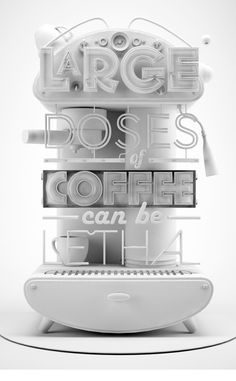 3D Projects by Joao Oliveira, via Behance - 3D Typography Design Modelling