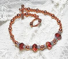 Copper and Silver Bracelet with Deep Pink and Amber Picasso Beads - Plus Size X-Large