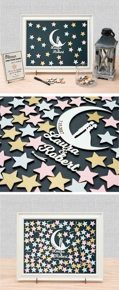 Stars and the Moon, Couple Wedding Guest Book Alternative/ Personal Customizable Unique Sign In by TokenGram
