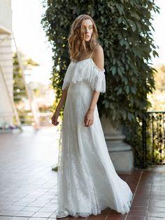 Sabine Dress Sample in Clara Lace – Davie & Chiyo Dream Wedding Dresses, Boho Wedding Dress, Bridal Lace, Boho Dress, Wedding Gowns, Lace Dress, Bridal Gown, Lace Ruffle, Lace Wedding