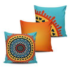 KIT com 3 Almofadas Decorativas Mandala 45x45cm - ALMAND004 - Pano e Arte