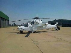 The Rooivalk painted in white UN colours prior to deployment. Photo from the Internet.