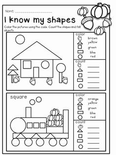 Fall math and literacy no prep - kindergarten. an excellent pack with a lot of kindergarten math activities, printable worksheet Shapes Worksheet Kindergarten, Shapes Worksheets, Kindergarten Math Activities, Kindergarten Math Worksheets, Math Literacy, Preschool Math, Kindergarten Classroom, Math Games, Preschool Shapes