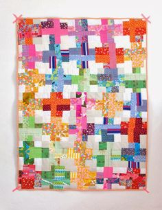 Cross Quilt, by Cintia, from My Poppet    Here is a great tutorial ! Fun…