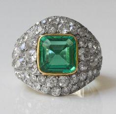 Suzanne Belperron - Platinum, gold, emerald and diamond ring (circa 1940) http://amzn.to/2t4PkE7