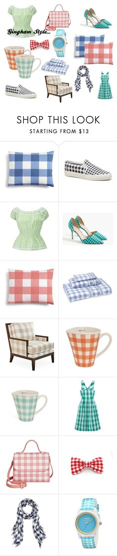 """""""Gingham Style..."""" by lizzysbibsandbobs ❤ liked on Polyvore featuring interior, interiors, interior design, home, home decor, interior decorating, Charter Club, Lacoste, J.Crew and MaryJane's Home"""