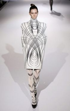 Sculptural Fashion - enclosed dress design with rounded 3D silhouette - line patterns, shape & structure; wearable art // Sachio Kawasaki: