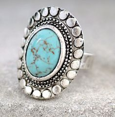 Turquoise Stone Oval Ring & Silver Vintage Ring by ... | My Style