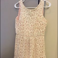 The Letter lace short dress Perfect for bridal shower or engagement party. Purchased from Gilt. Worn once. Very good quality and ivory lace detail The Letter Dresses