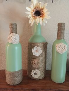 Twine and burlap bottles