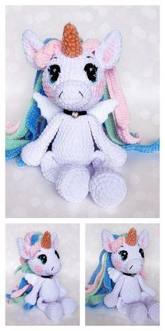Crochet Animals, Crochet Toys, Free Crochet, Amigurumi Patterns, Amigurumi Doll, Crochet Patterns, Unicorn Stuffed Animal, Stuffed Animals, Knitting Bear