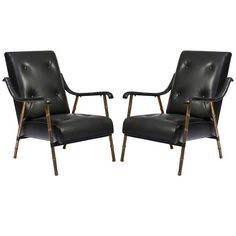 """Pair of """"Bamboo"""" Armchairs 