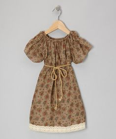 Tan Floral Lace Peasant Dress - Infant, Toddler & Girls by Baby Takes A Trip on #zulily