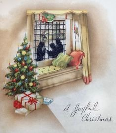 Used Vtg Christmas Card Front Door w Wreath Candles on Tree and in Window Window Inserts, Open Window, Christmas Greeting Cards, Christmas Greetings, Snowy Window, Christmas Windows, House Windows, Cozy House, Vintage Christmas
