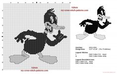 Disney Duffy Duck vintage black and white free cross stitch pattern (click to view)