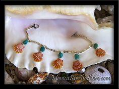 5 Sunrise Shells & Turquoise Charm Bracelet