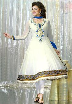White Faux Georgette Churidar Kameez