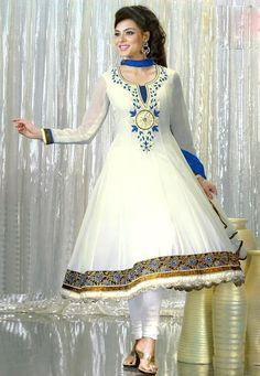 #White Faux Georgette #Churidar Kameez