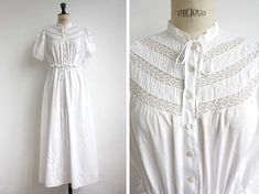 SALE / Antique French Long White Coton Dress with Open Lace Work, Tie Bow Neck / 1900 Edwardian / Spring, Summer / Size Small - Medium