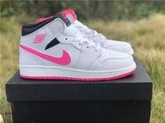 13218ba2c794 2019 Air Jordan 1 Mid Hyper Pink White Black For Girls-6 Jordan 1 White