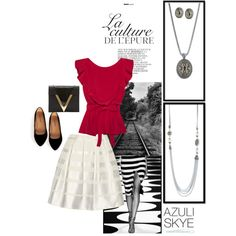 Be traditional chic by combining golds and silver with this solid bold top! The red looks great with our Eliza necklace and our Clever Chic Necklace makes the perfect statement piece! #accessories #fashiontrends