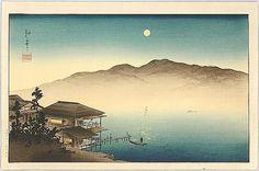 """Full moon above a house near the river"", Koho Shoda (1871-1946) - c. 1930."