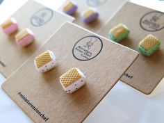 New flavours of our Ice Cream Wafer ear studs now available at MiniatureAsianChef.com  What's your favourite flavour?   #MiniatureAsianChef #miniaturefood #miniatures #miniature #polymerclay #fakefood #craft #handmade #singapore #sg #igsg #sgig #icecreamwafer #raspberryrippleicecream #chocolatechip #chocolatemint #yam #earrings #madeinsg #foodjewelry