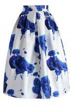 Blue Roses Printed Midi Skirt