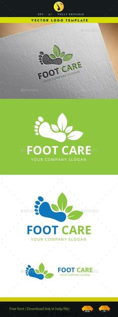Foot Care Logo: Symbol Logo Design Template created by suraphan. Letterhead Template, Brochure Template, Logo Templates, Logos, Podiatry, Skincare Blog, Care Logo, Cool Business Cards, Free Fonts Download