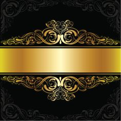 Golden black label design vector art illustration