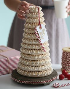 Now that it is officially December, we thought we'd share this great holiday recipe by Almond Cookie Tower Christmas Goodies, Christmas Desserts, Christmas Baking, Holiday Baking, Christmas Holidays, Italian Christmas, Xmas, Holiday Cakes, Holiday Treats